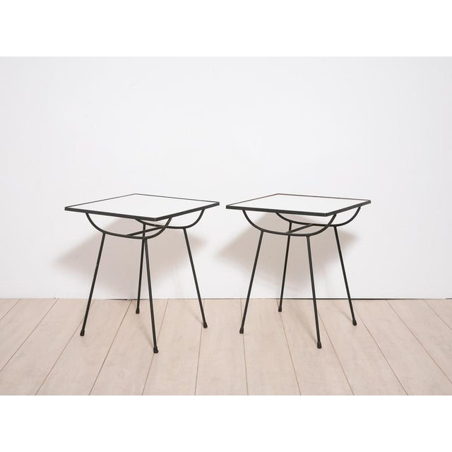 Image of George Nelson Milk Glass Side Tables - Pair
