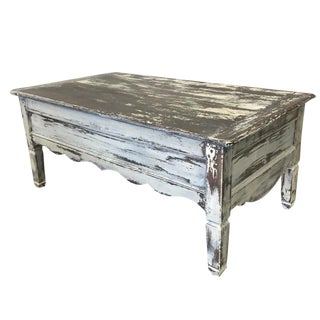 French Country Antique White Painted Coffee Table