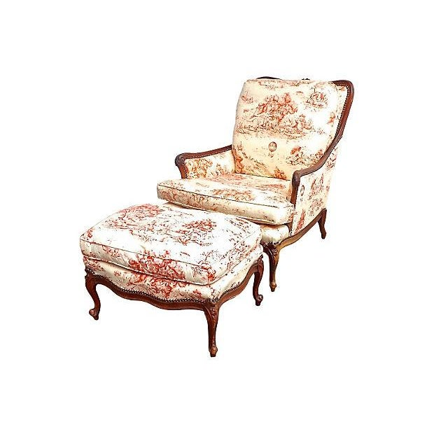 Antique French Toile Fauteuil And Ottoman - Image 1 of 10