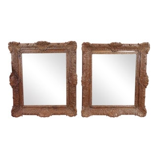 19th Century Mirrors in Regence Carved Wood Frames - Pair