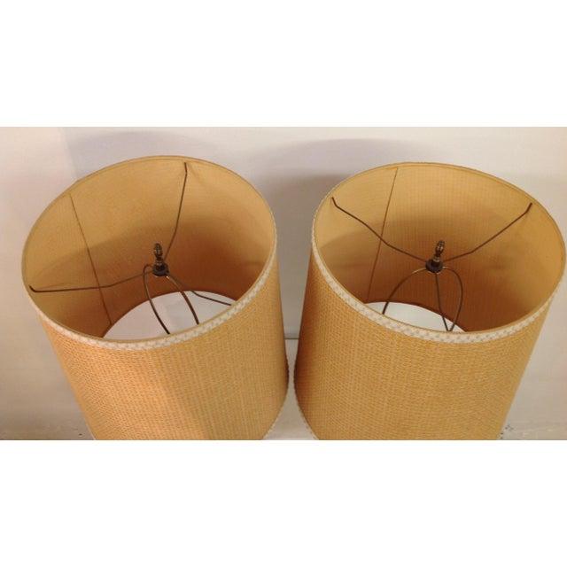 Majolica Porcelain Cherub Relief Lamps - Pair - Image 5 of 9