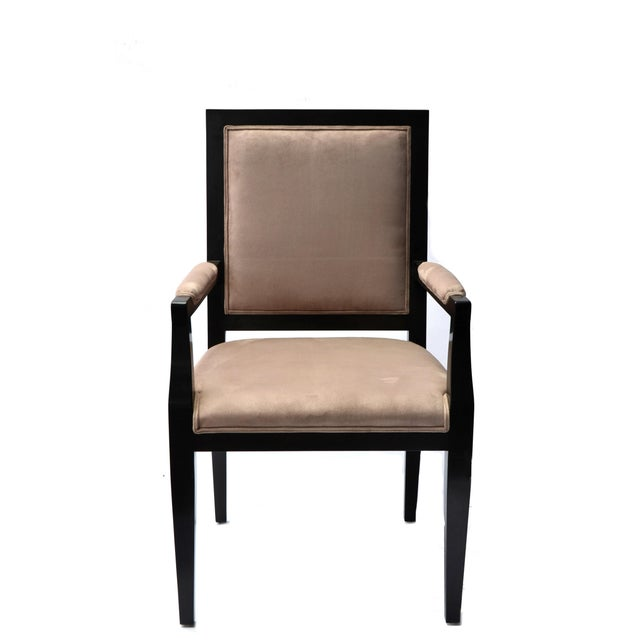 Image of Ebonized Wood Arm Chairs - Set of 4