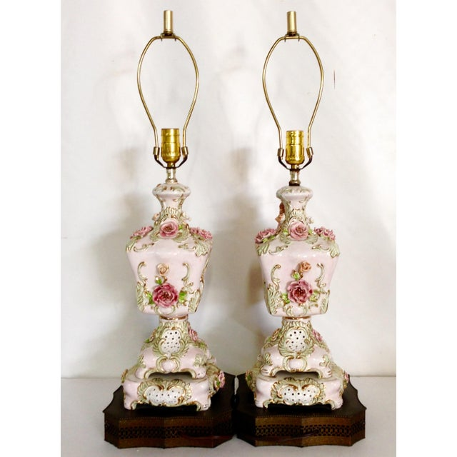 Italian Porcelain Capidomente Table Lamps - A Pair - Image 3 of 8