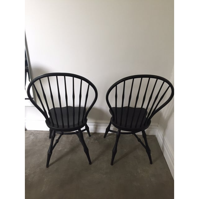 19th Century American Black New England Windsor Chairs - A Pair - Image 5 of 8