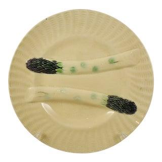 Creil et Montereau French Barbotine Majolica Asparagus Plate