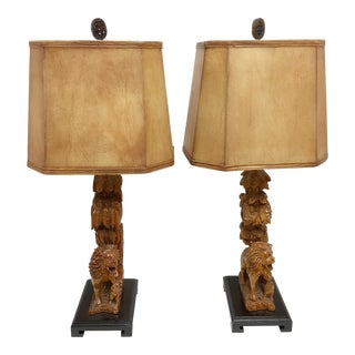 Carved Wood Lion Table Lamps - A Pair