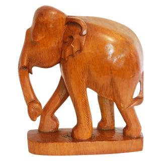Vintage Hand Carved Hardwood Elephant