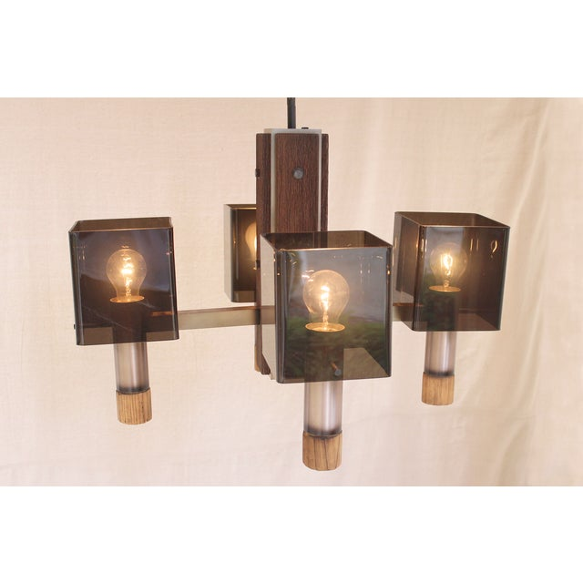 Image of Vintage Brass & Smoky Lucite Chandelier