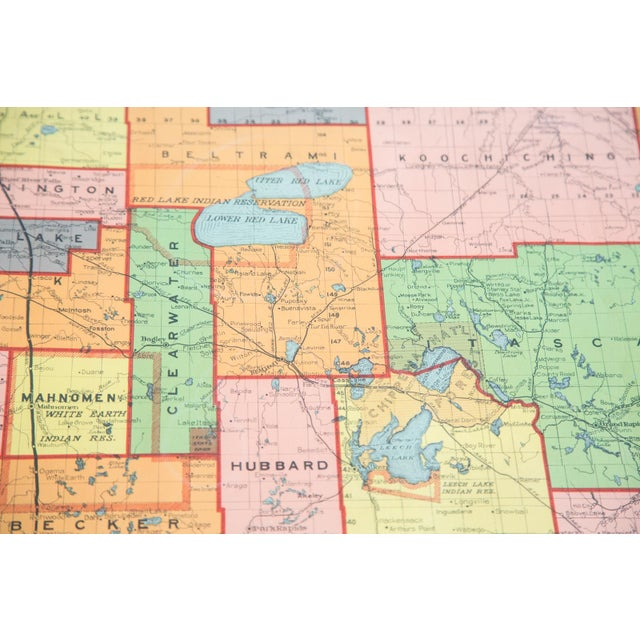 Antique Nystrom Pull Down Map of Minnesota - Image 6 of 9