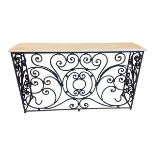 Ornate Iron and Marble Top Console