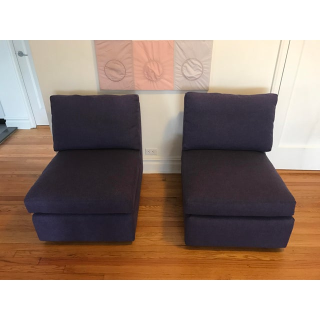 ABC Home Cobble Hill Purple Slipper Chairs- A Pair - Image 3 of 5