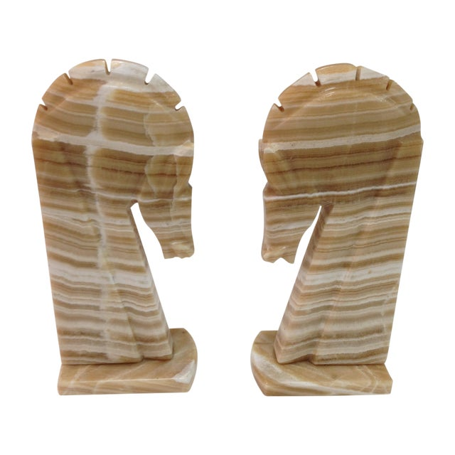 Large Alabaster Horse Bookends - Pair - Image 1 of 4