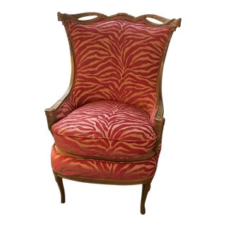 Pink Zebra Print Upholstered Chair With Gold Frame