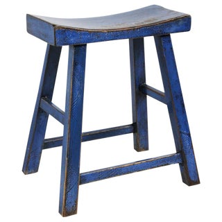Blue Lacquered Wood Stool