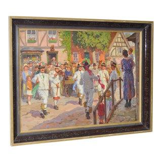 1930s Vintage Bavarian Celebration Painting by WRS Scott