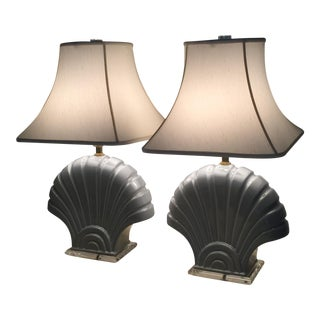 Mid-Century Shell Table Lamps - A Pair