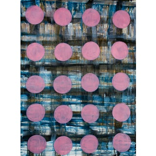 Modern Geometric Painting - Pink Plaid Spots