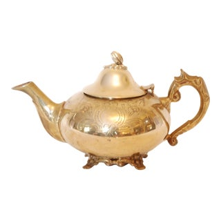 Mid Century Brass Etched Brass Teapot
