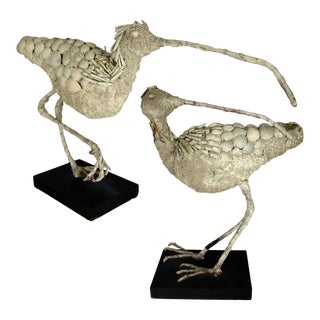 Shell Encrusted Burlap & Wire Wading Bird Sculptures - A Pair