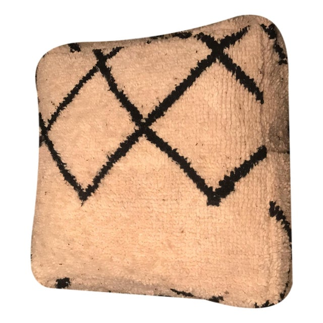 Authentic Beni Ourain Vintage Moroccan Pouf Floor Cushions - a Pair - Image 7 of 10