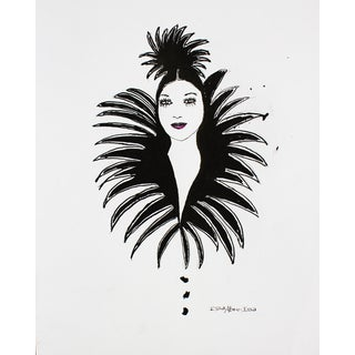 Black & White Copa Cabana Lady Print