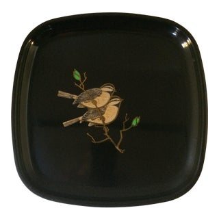 Vintage Couroc Sparrow Serving Tray with Brass Inlay