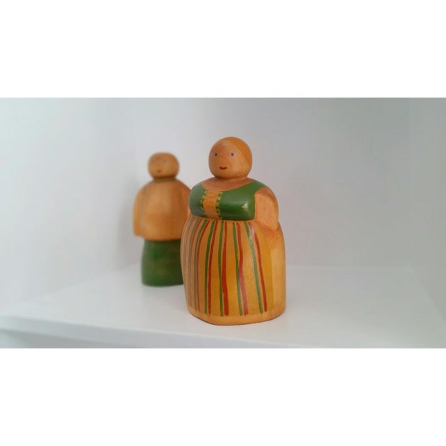 Vintage Scandinavian Wooden Figurines - A Pair - Image 3 of 4