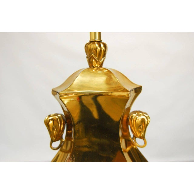 Image of Marboro Chinoiserie Cast Brass Table Lamp