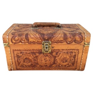 Vintage Tooled Leather Mini-Chest