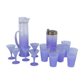 West Virginia Glass Frosted Cocktail Set