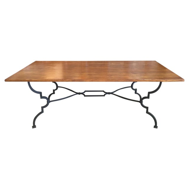 Plank Trestle Table With Iron Base - Image 1 of 10