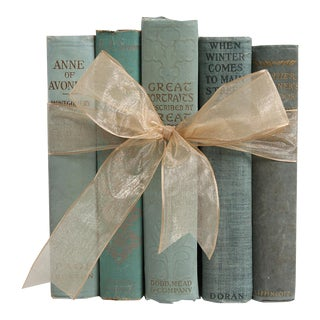 Vintage Book Gift Set: Readings In Weathered Teal, S/5