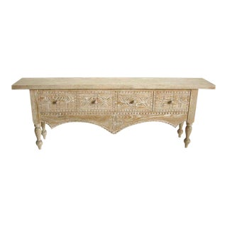Custom Ceruse Oak Wood Carved Console With Turned Legs and Drawers