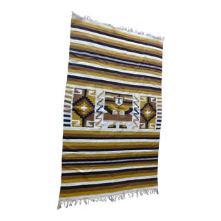 "Striped Ethnic Golden Wool Area Rug - 6'5"" x 4'1"""