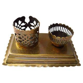 Antique Brass Cigarette Holder W/ Strike