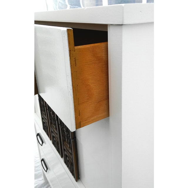 White Lacquered Mid-Century Modern Tall Dresser - Image 7 of 9