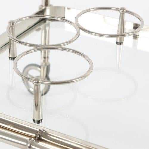 1960S SWEDISH POLISHED-NICKEL, FAUX-BAMBOO BAR CART ON CASTERS - Image 2 of 10