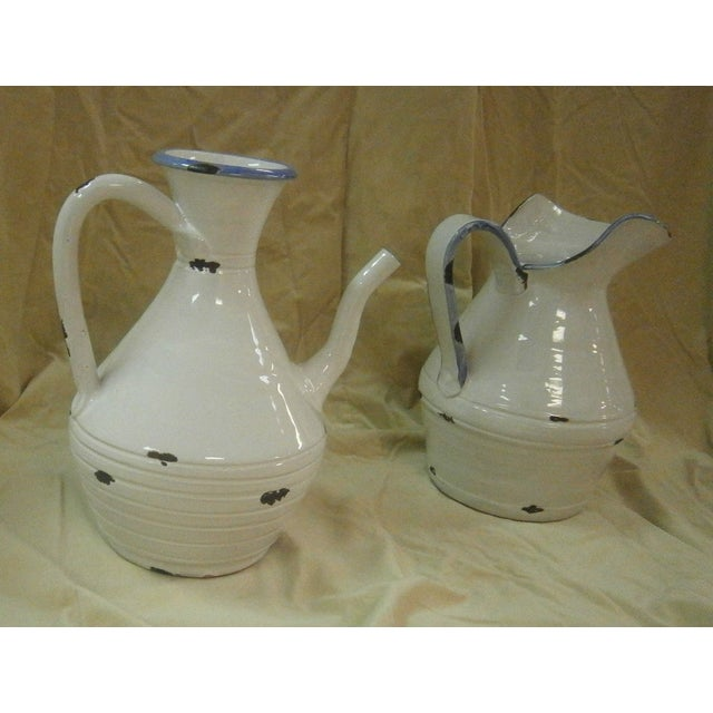 Image of Italian White Pottery Pitchers - A Pair