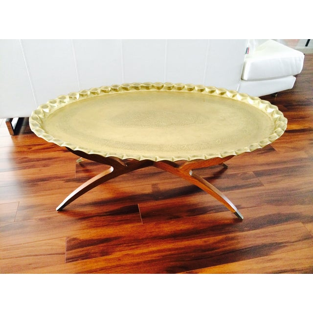 Image of Vintage Ornate Brass Table Top With Spider Base