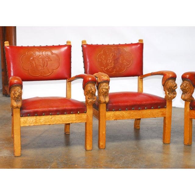 Norwegian Folk Art Leather Armchairs - Set of 4 - Image 4 of 10