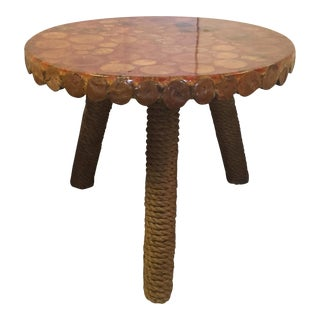 Round Rope Covered Leg Wood Side Table