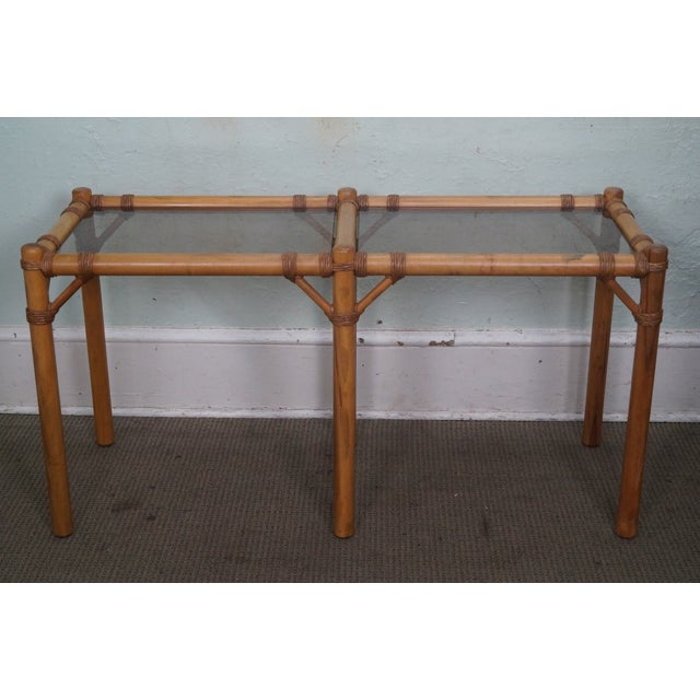 Vintage Faux Bamboo Console Table - Image 2 of 10