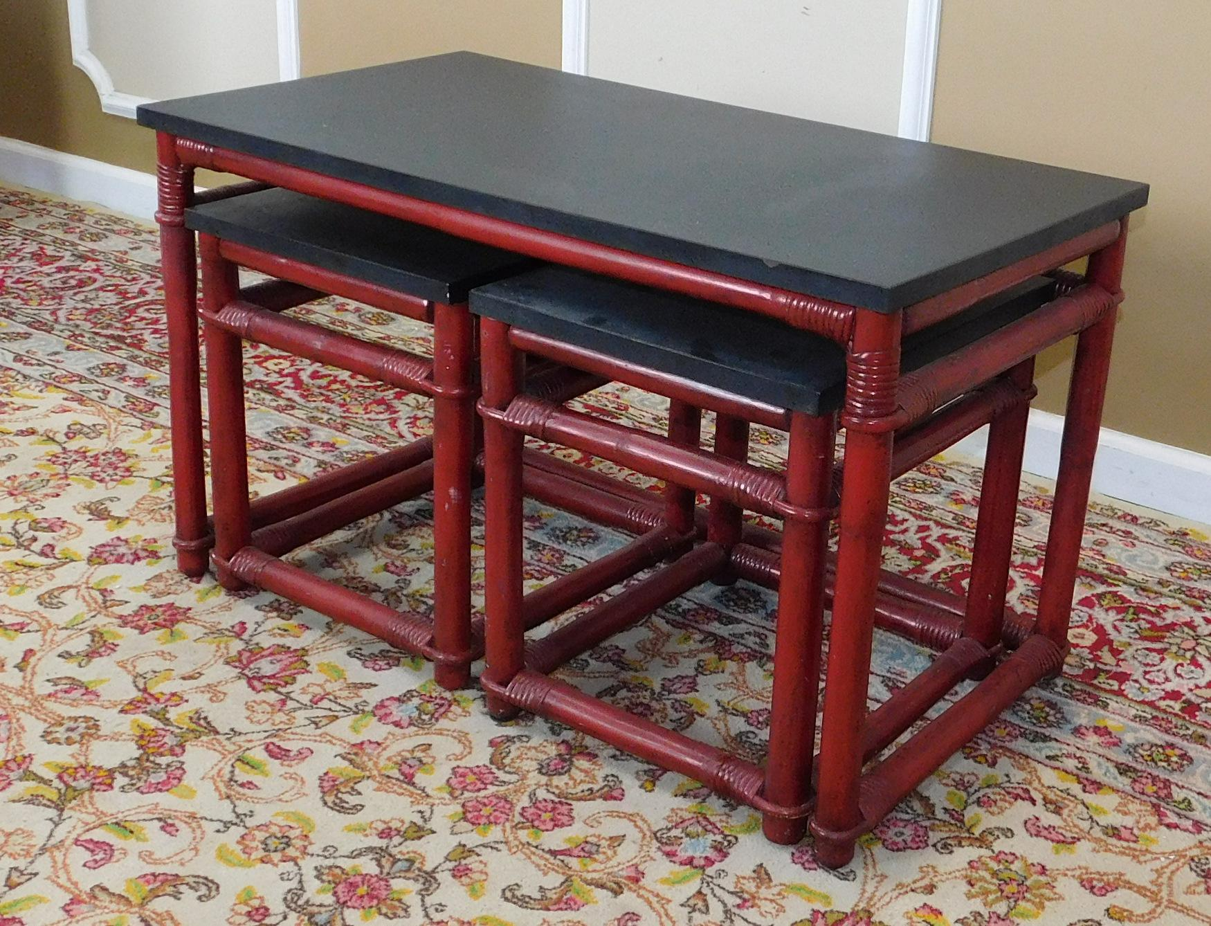 Captivating Vintage Ficks Reed Red Rattan Nesting Tables   Set Of 3   Image 6 Of 8