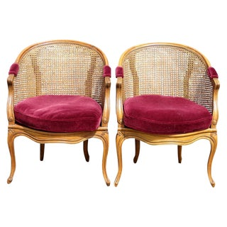 Louis XV Style Caned Lounge Chairs - A Pair
