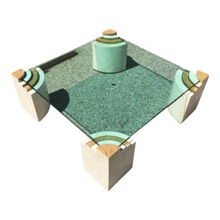 Tessellated Stone & Brass Coffee Table