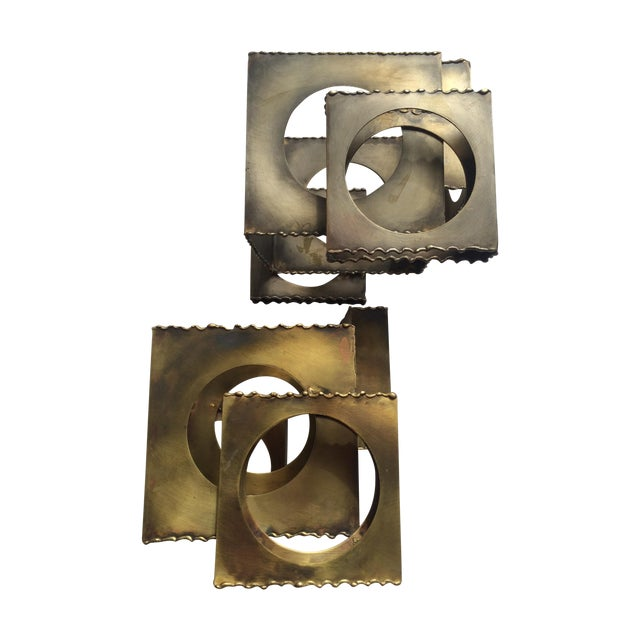Tom Greene Brass Sculpture Candleholders - A Pair - Image 1 of 6