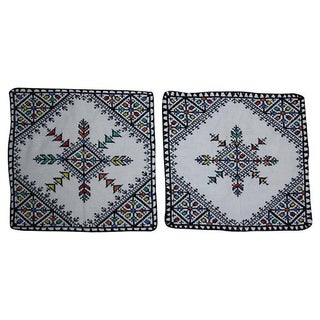 Moroccan Hand-Embroidered Shams - Pair