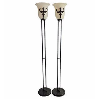 Mid-Century Modern Metal Floor Lamps with Alabaster Shades - A Pair