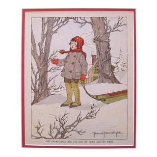 1918 British Vintage Children's Illustration, Winter Snowflakes