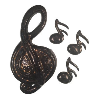 Mid Century Treble Clef Music Notes Wall Decor Wall Pocket Planter